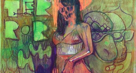 detaie terror pintura- tecnica mixta - ilusion - confusion - tecnica mixta - streetartist - woman - human figure - pesk