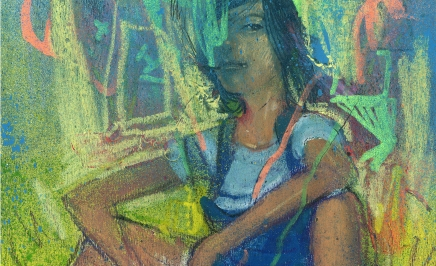 detalle retrato parque - tecnica mixta - pintura
