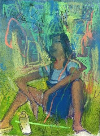 detalle retrato parque - tecnica mixta - pintura3