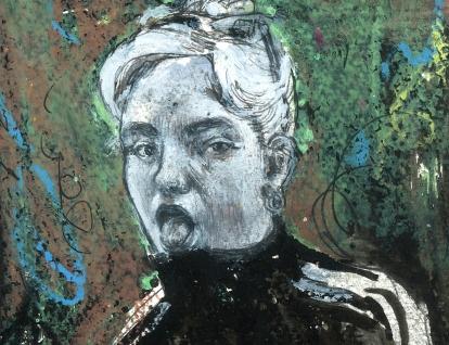 detalleretrato - blanco y negro - 2019 - chica madrird - pintura - pastel oleo