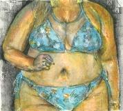 fat - gorda - curvy - portrait - woman - pastel oleo - pintura 2019