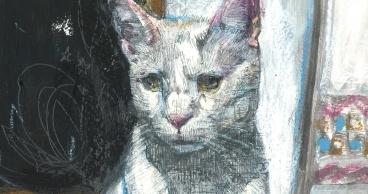 gato - pintura - detalle - loeschbor - mixed media - acrilico pesk - m (1)