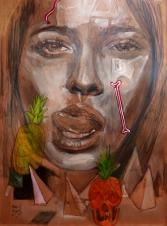 pintura- chica- granada - acrilicos - portrait - retrato grande -loeschbor - cordoba