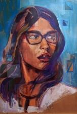 pintura- chica - tecnica mixta - acrilicos - portrait - retrato grande -loeschbor - cordoba