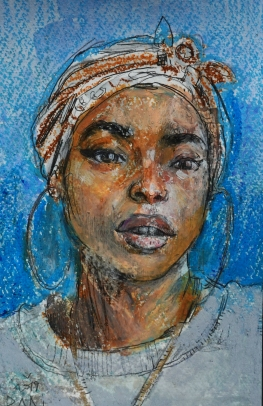 pintura - retrato - portrait - princess nokia - fan - hip hop - rap - pintura - pastel oleo